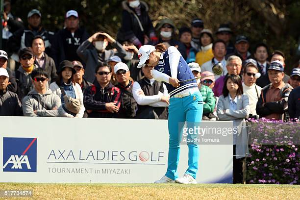 HaNeul Kim of South Korea hits her tee shot on the 17th hole during the final round of the AXA Ladies Golf Tournament at the UMK Country Club on...