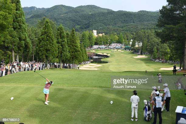 HaNeul Kim of South Korea hits her tee shot on the 18th hole during the final day of the Suntory Ladies Open at the Rokko Kokusai Golf Club on June...