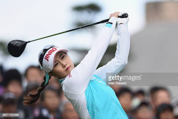 HaNeul Kim of South Korea hits her tee shot on the 1st hole during the final round of the Yonex Ladies Golf Tournament 2016 at the Yonex Country Club...