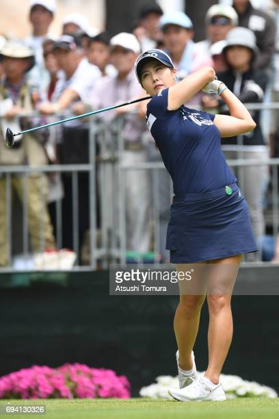 HaNeul Kim of South Korea hits her tee shot on the 1st hole during the second round of the Suntory Ladies Open at the Rokko Kokusai Golf Club on June...