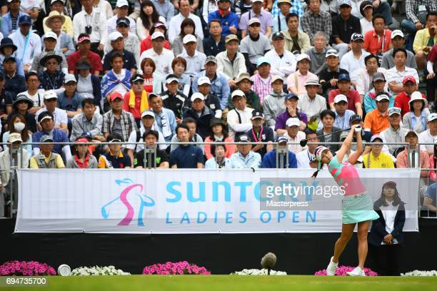 HaNeul Kim of South Korea hits her tee shot on the 1st hole during the final round of the Suntory Ladies Open at the Rokko Kokusai Golf Club on June...