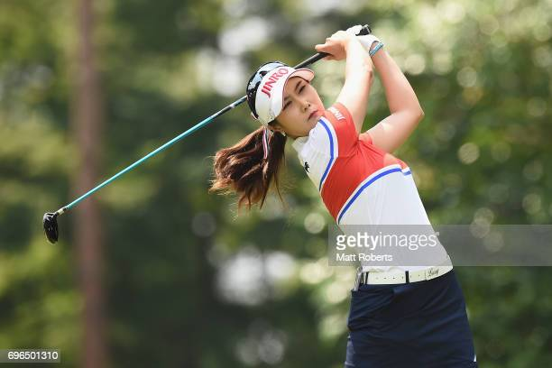 HaNeul Kim of South Korea hits her tee shot on the 2nd hole during the first round of the Nichirei Ladies at the Sodegaura Country Club Shinsode...