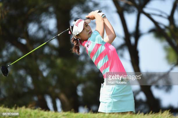 HaNeul Kim of South Korea hits her tee shot on the 3rd hole during the final round of the HokennoMadoguchi Ladies at the Fukuoka Country Club Wajiro...