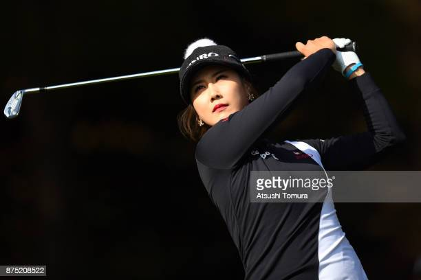 HaNeul Kim of South Korea hits her tee shot on the 3rd hole during the second round of the Daio Paper Elleair Ladies Open 2017 at the Elleair Golf...