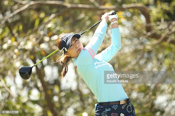 HaNeul Kim of South Korea hits her tee shot on the 4th hole during the TPoint Ladies Golf Tournament at the Wakagi Golf Club on March 20 2016 in...
