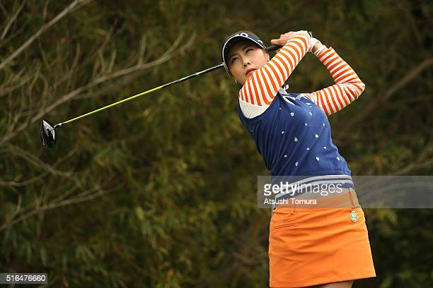 HaNeul Kim of South Korea hits her tee shot on the 5th hole during the second round of the TPoint Ladies Golf Tournament at the Wakagi Golf Club on...