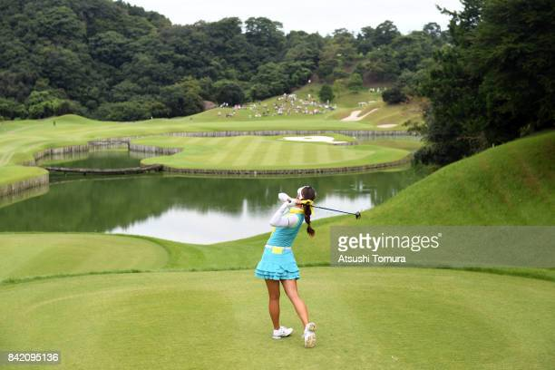 HaNeul Kim of South Korea hits her tee shot on the 5th hole during the final round of the Golf 5 Ladies Tournament 2017 at the Golf 5 Country Oak...