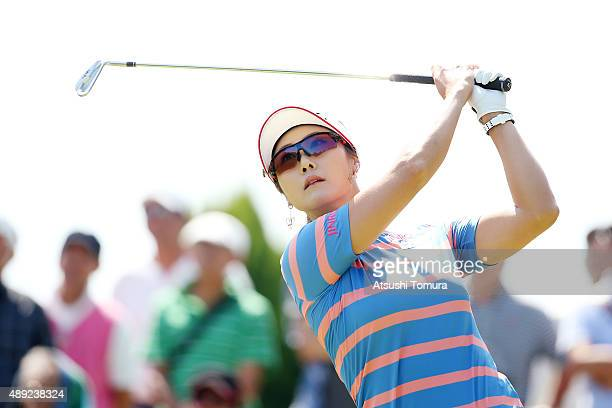 HaNeul Kim of South Korea hits her tee shot on the 6th hole during the final round of the Munsingwear Ladies Tokai Classic at the Shin Minami Aichi...