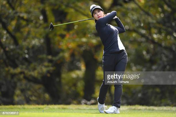 HaNeul Kim of South Korea hits her tee shot on the 6th hole during the second round of the Daio Paper Elleair Ladies Open 2017 at the Elleair Golf...