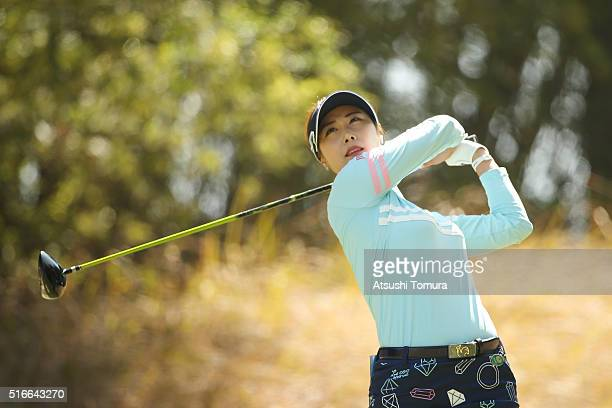 HaNeul Kim of South Korea hits her tee shot on the 7th hole during the TPoint Ladies Golf Tournament at the Wakagi Golf Club on March 20 2016 in...