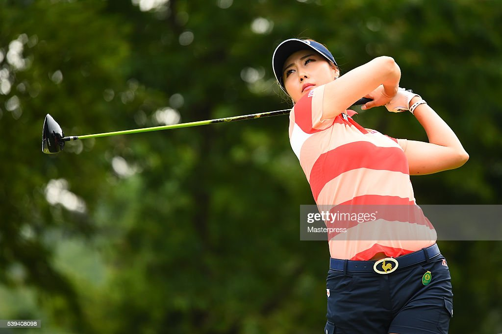Ha-Neul Kim of South Korea hits her tee shot on the 7th hole during the third round of the Suntory Ladies Open at the Rokko Kokusai Golf Club on June 11, 2016 in Kobe, Japan.