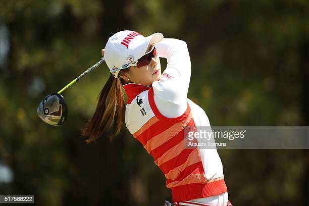 HaNeul Kim of South Korea hits her tee shot on the 8th hole during the second round of the AXA Ladies Golf Tournament at the UMK Country Club on...