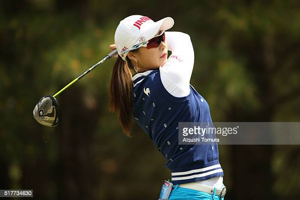 HaNeul Kim of South Korea hits her tee shot on the 8th hole hole during the final round of the AXA Ladies Golf Tournament at the UMK Country Club on...