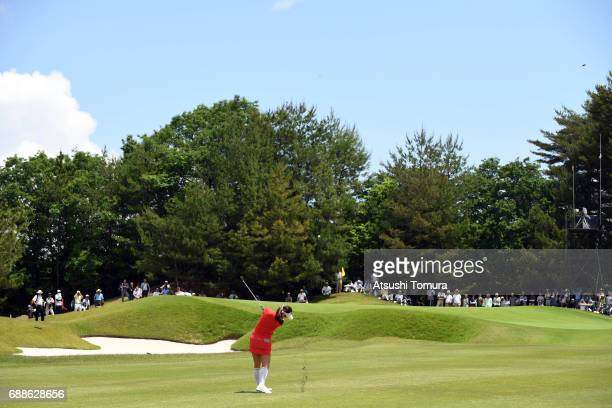 HaNeul Kim of South Korea hits her third shot on the 9th hole during the first round of the Resorttrust Ladies at the Oakmont Golf Club on May 26...