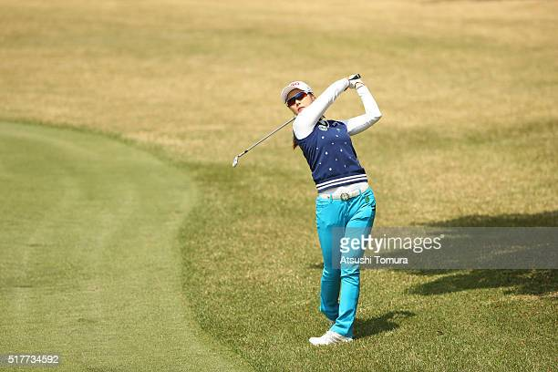 HaNeul Kim of South Korea hits her third shot on the 9th hole hole during the final round of the AXA Ladies Golf Tournament at the UMK Country Club...
