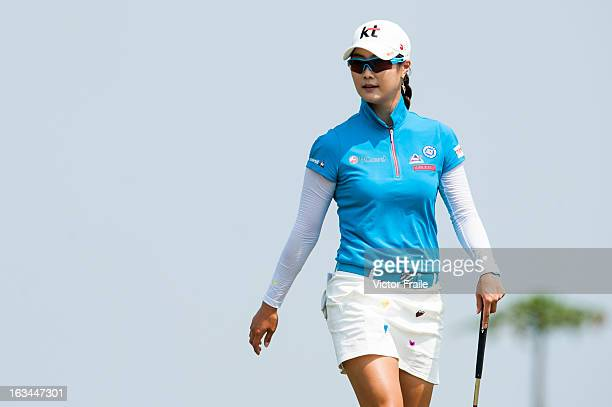 HaNeul Kim of South Korea lines up a putt on the 14th hole during day four of the Mission Hills World Ladies Championship at Mission Hills'...