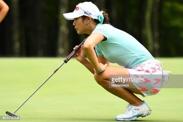 HaNeul Kim of South Korea lines up during the Daito Kentaku Eheyanet Ladies 2017 at the Narusawa Golf Club on July 30 2017 in Narusawa Yamanashi Japan