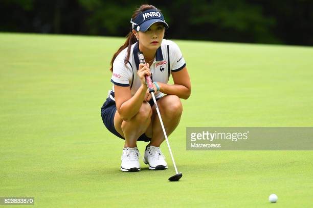 HaNeul Kim of South Korea lines up during the second round of the Daito Kentaku Eheyanet Ladies 2017 at the Narusawa Golf Club on July 28 2017 in...