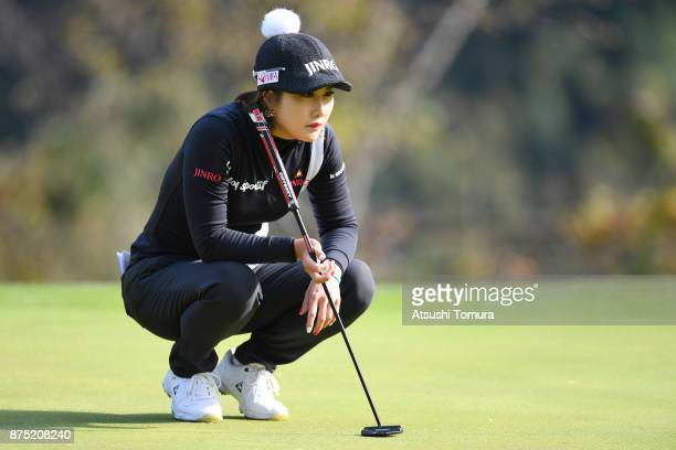 HaNeul Kim of South Korea lines up her putt on the 2nd hole during the second round of the Daio Paper Elleair Ladies Open 2017 at the Elleair Golf...