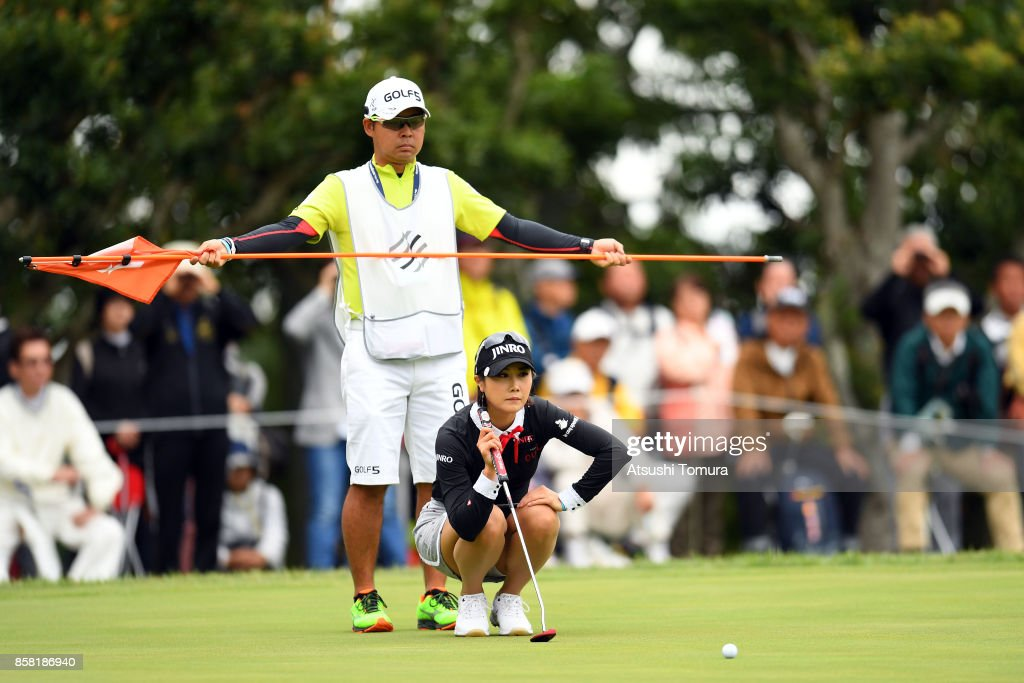 Ha-Neul Kim of South Korea lines up her putt on the 8th hole during the first round of Stanley Ladies Golf Tournament at the Tomei Country Club on October 6, 2017 in Susono, Shizuoka, Japan.