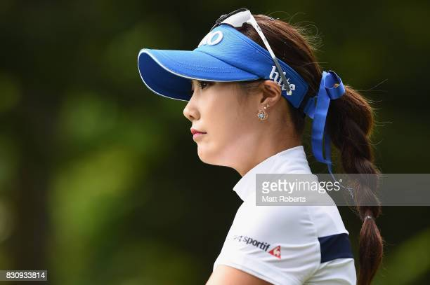 HaNeul Kim of South Korea looks on after her tee shot on the 2nd hole during the final round of the NEC Karuizawa 72 Golf Tournament 2017 at the...