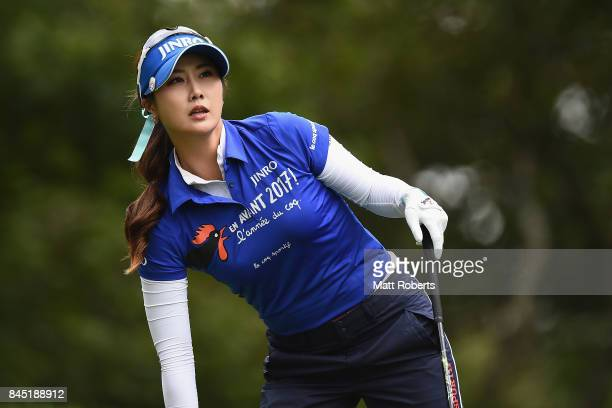 HaNeul Kim of South Korea looks on during the final round of the 50th LPGA Championship Konica Minolta Cup 2017 at the Appi Kogen Golf Club on...