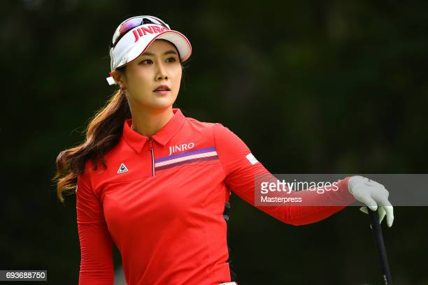 HaNeul Kim of South Korea looks on during the first round of the Suntory Ladies Open at the Rokko Kokusai Golf Club on June 8 2017 in Kobe Japan