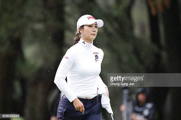 HaNeul Kim of South Korea on the 18th green during the final round of the LPGA Tour Championship Ricoh Cup 2016 at the Miyazaki Country Club on...