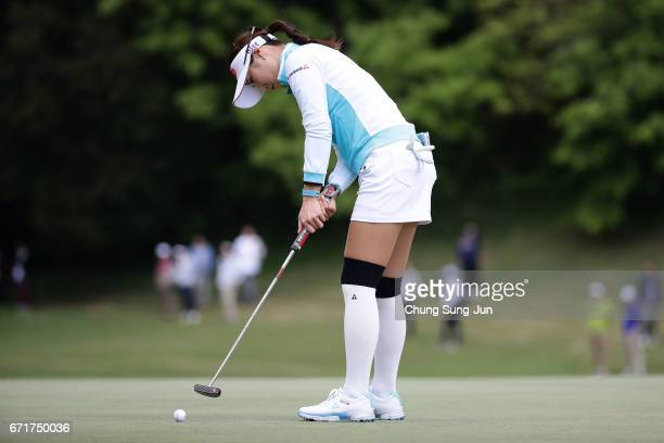 HaNeul Kim of South Korea plays a putt on the 2nd green during the final round of Fujisankei Ladies Classic at the Kawana Hotel Golf Course Fuji...