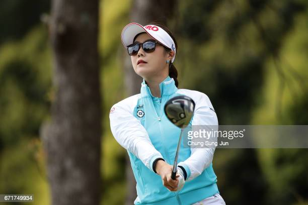HaNeul Kim of South Korea plays a tee shot on the 3rd hole during the final round of Fujisankei Ladies Classic at the Kawana Hotel Golf Course Fuji...