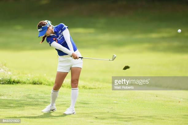 HaNeul Kim of South Korea plays her approach shot on the 7th hole during the final round of the 50th LPGA Championship Konica Minolta Cup 2017 at the...