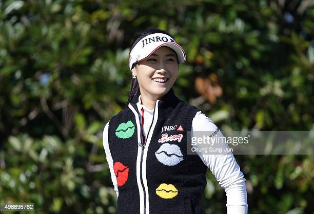 HaNeul Kim of South Korea prepares for tee shot on the 3rd green during the second round of the LPGA Tour Championship Ricoh Cup 2015 at the Miyazaki...