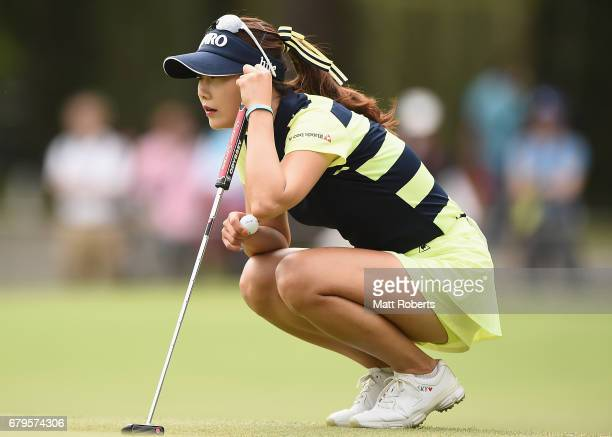 HaNeul Kim of South Korea prepares to putt during the third round of the World Ladies Championship Salonpas Cup at the Ibaraki Golf Club on May 6...