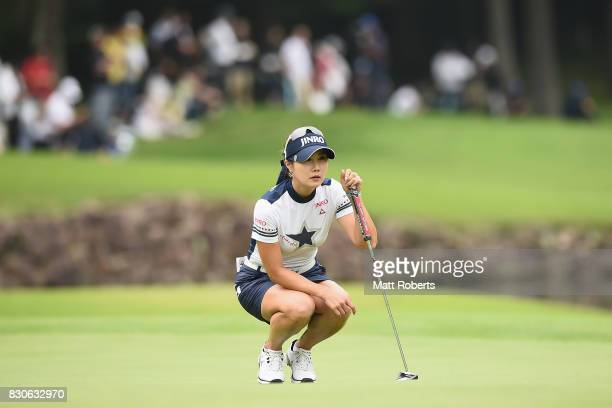 HaNeul Kim of South Korea prepares to putt on the 18th green during the second round of the NEC Karuizawa 72 Golf Tournament 2017 at the Karuizawa 72...