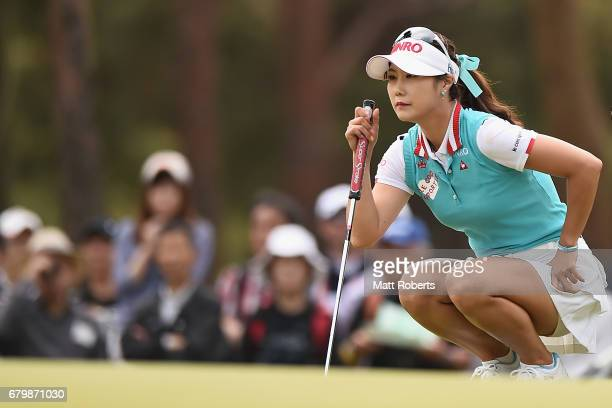 HaNeul Kim of South Korea prepares to putt on the 2nd green during the final round of the World Ladies Championship Salonpas Cup at the Ibaraki Golf...