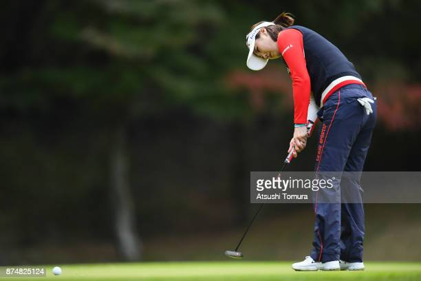 HaNeul Kim of South Korea putts on the 10th hole during the first round of the Daio Paper Elleair Ladies Open 2017 at the Elleair Golf Club on...