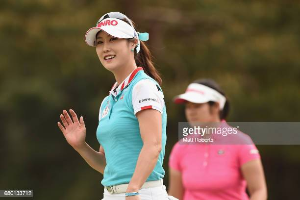 HaNeul Kim of South Korea reacts on the 18th green during the final round of the World Ladies Championship Salonpas Cup at the Ibaraki Golf Club on...