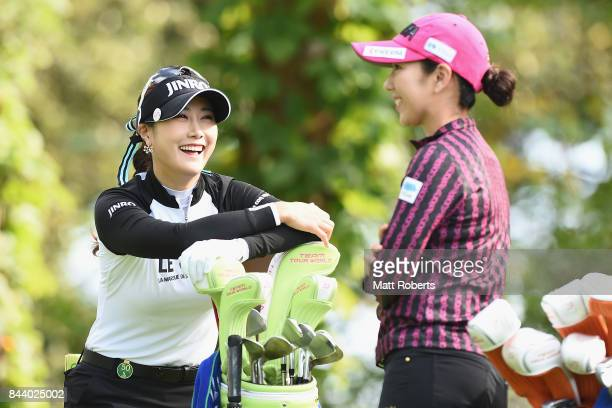 HaNeul Kim of South Korea shares a laugh with Ritsuko Ryu of Japan during the second round of the 50th LPGA Championship Konica Minolta Cup 2017 at...