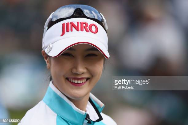 HaNeul Kim of South Korea smiles during the final round of the Yonex Ladies Golf Tournament 2016 at the Yonex Country Club on June 4 2017 in Nagaoka...