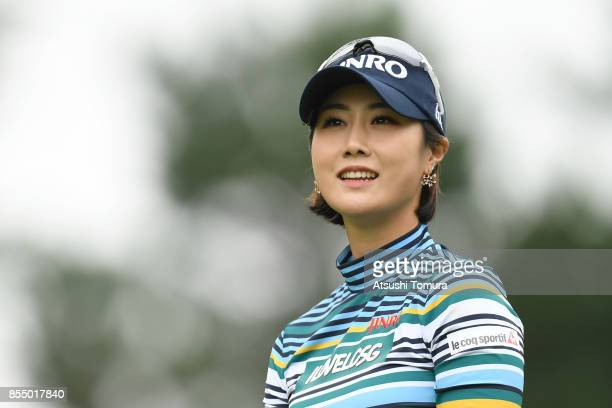 HaNeul Kim of South Korea smiles during the first round of Japan Women's Open 2017 at the Abiko Golf Club on September 28 2017 in Abiko Chiba Japan