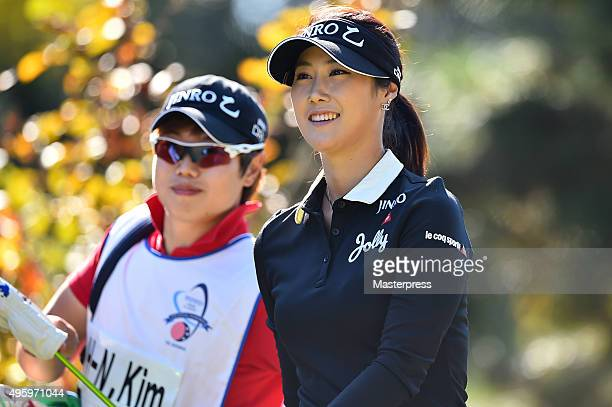 HaNeul Kim of South Korea smiles during the first round of the TOTO Japan Classics 2015 at the Kintetsu Kashikojima Country Club on November 6 2015...