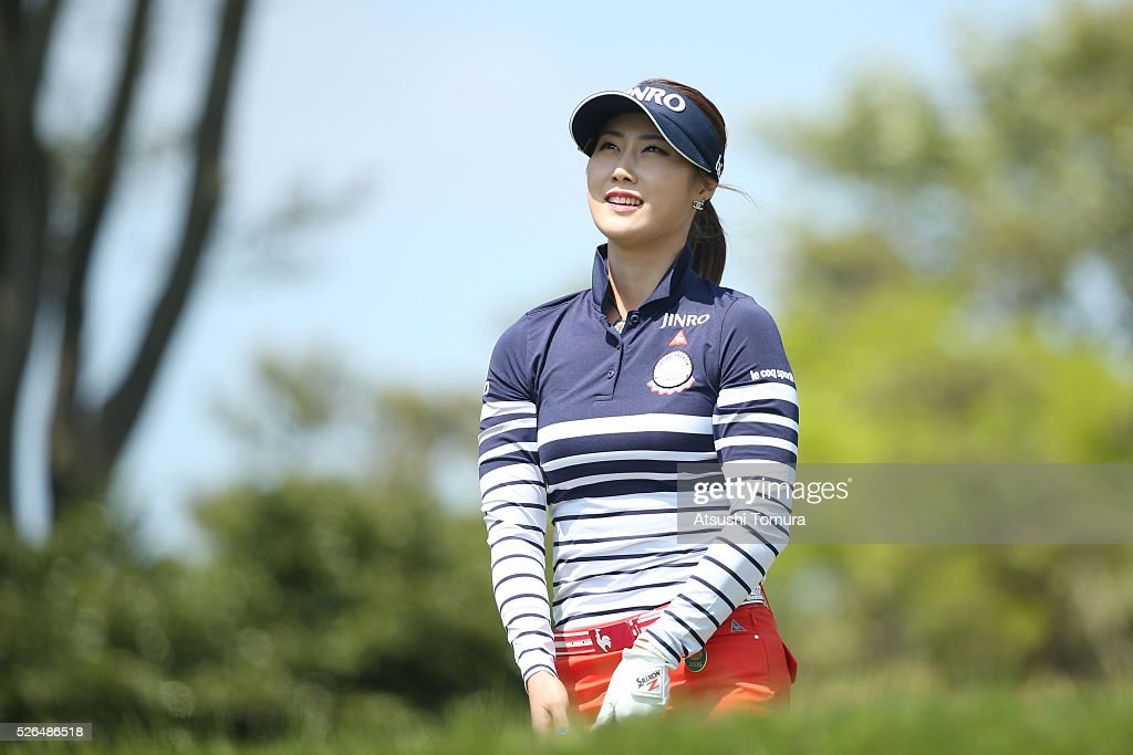 Ha-Neul Kim of South Korea smiles during the second round of the CyberAgent Ladies Golf Tournament at the Grand Fields Country Club on April 30, 2016 in Mishima, Japan.