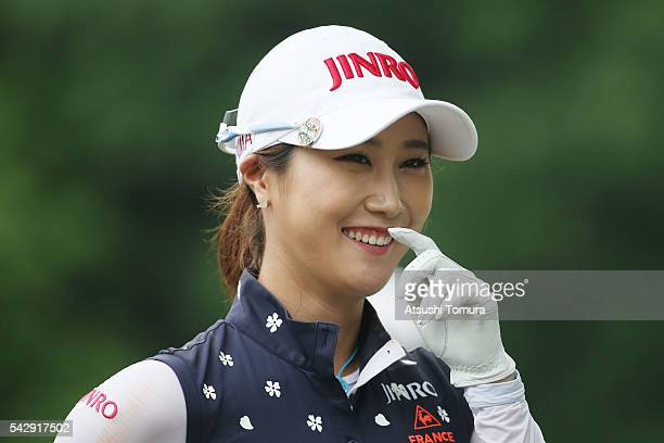 HaNeul Kim of South Korea smiles during the third round of the Earth Mondamin Cup at the Camellia Hills Country Club on June 25 2016 in Sodegaura...