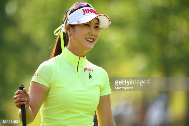 HaNeul Kim of South Korea smiles during the third round of the Suntory Ladies Open at the Rokko Kokusai Golf Club on June 10 2017 in Kobe Japan