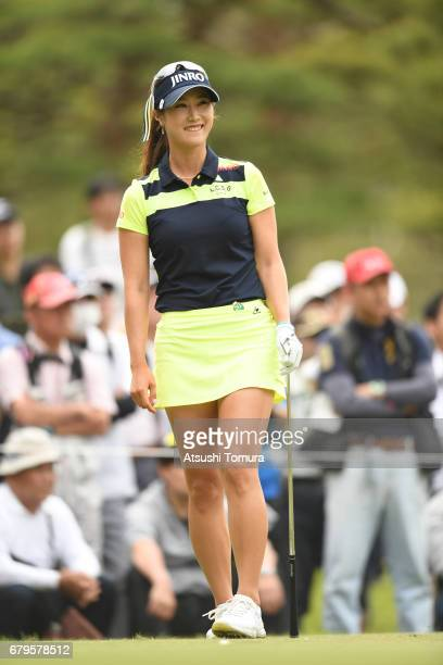 HaNeul Kim of South Korea smiles during the third round of the World Ladies Championship Salonpas Cup at the Ibaraki Golf Club on May 6 2017 in...