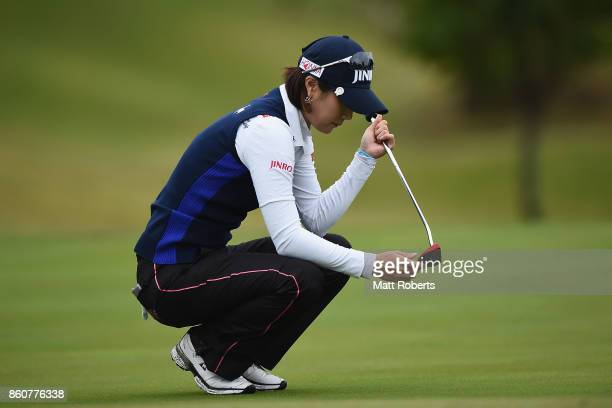 HaNeul Kim of South Korea waits to putt during the first round of the Fujitsu Ladies 2017 at the Tokyu Seven Hundred Club on October 13 2017 in Chiba...