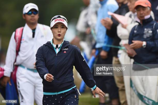 HaNeul Kim of South Korea walks to the first tee during the final round of the Yonex Ladies Golf Tournament 2016 at the Yonex Country Club on June 4...