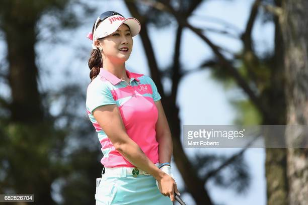 HaNeul Kim of South Korea watches her tee shot on the 3rd hole during the final round of the HokennoMadoguchi Ladies at the Fukuoka Country Club...