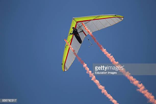 Hang glider during opening ceremony July 4 Independence Day Parade Telluride Colorado