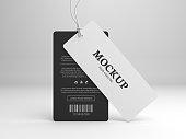 Hang tag mockup for branding label. Standing black and white tags. 3D illustration mock-up.